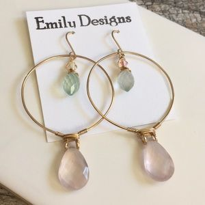Simple hoop earrings rose quartz on gold fill
